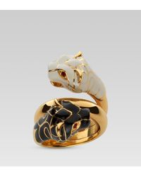 Gucci | Brown Contraire Ring with Tiger Heads | Lyst