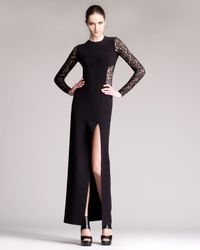 Michael Kors | Black Lace Inset Sideslit Gown | Lyst