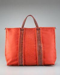 Bottega Veneta | Orange Leather Snakeskin Tote | Lyst