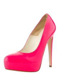 Brian Atwood | Pink Fluorescent Platform Pump | Lyst