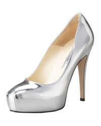 Brian Atwood | Maniac Metallic Leather Platform Pumps | Lyst