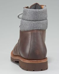 Brunello Cucinelli - Brown Leather Hiker Boot for Men - Lyst