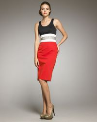 Carolina Herrera - Black Colorblock-waist Dress - Lyst