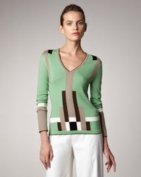 Carolina Herrera | Green Colorblock Sweater | Lyst