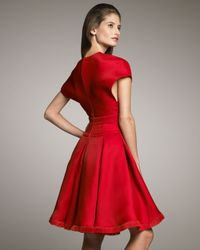 Chado Ralph Rucci | Red Plunge-neck Pleated Dress | Lyst