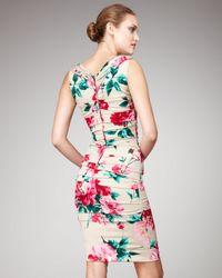 Dolce & Gabbana | Natural Sleeveless Floral Sheath Dress | Lyst