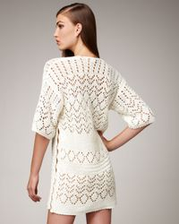 Emilio Pucci - Natural Crocheted Tunic with Applique - Lyst