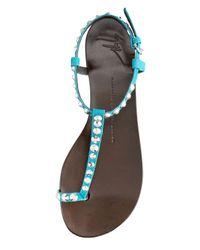 Giuseppe Zanotti | Blue Crystalstudded Toering Thong Sandal | Lyst