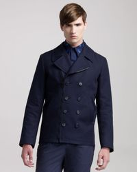 Givenchy | Blue Biker Pea Coat for Men | Lyst