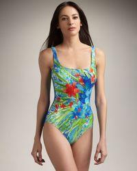 Gottex | Blue Seychelles Floral-print Maillot | Lyst