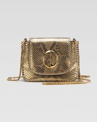 Gucci | Metallic Small Shoulder Bag Oro Champagne Python | Lyst
