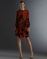 Gucci - Black Long Sleeve Crew Neck Dress with Decoratif Print - Lyst