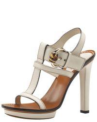 Gucci | Natural Gwen High Heel Platform Sandal  | Lyst