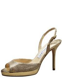 Jimmy Choo | Gold Glitter Sandal | Lyst