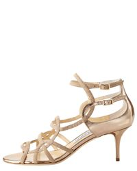 Jimmy Choo - Natural Strappy Low-heel Sandal - Lyst