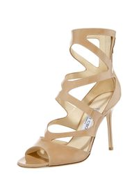 Jimmy Choo | Natural Patent Zigzag Anklewrap Sandal | Lyst