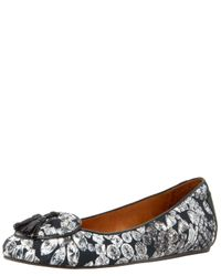 Lanvin | Black Diamond-print Canvas Ballerina Flat | Lyst