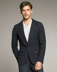 Lanvin | Blue One-button Crinkled Wool Jacket for Men | Lyst