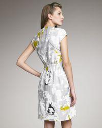 Lela Rose - Gray Printed Front-Zip Dress - Lyst