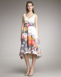 Lela Rose | White Floral-print V-neck Dress | Lyst