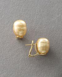 Majorica - Metallic Champagne Pearl Earrings Post Backs - Lyst