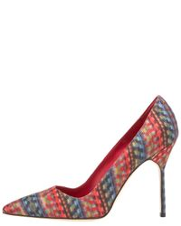 Manolo Blahnik - Multicolor Fabric Point-toe Pump - Lyst