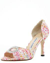 Manolo Blahnik | Pink Sammy Bejeweled Tweed Dorsay | Lyst