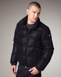 Moncler Blue Puffer Bomber Jacket for men
