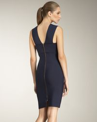 Roland Mouret Blue Wilkes Fold-neck Dress