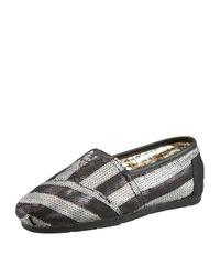 TOMS | Gray Gurley Stripe Sequin Slip On | Lyst