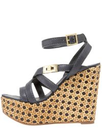 Tory Burch - Black Dalcin Wicker & Leather Platform Wedge Sandals - Lyst