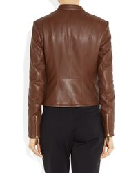 The Row | Brown Cookton Textured Leather Biker Jacket | Lyst