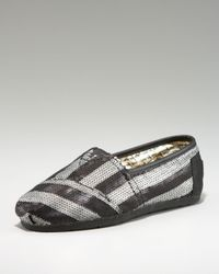 TOMS | Black Gurley Stripe Sequin Slip On | Lyst