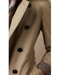 Burberry Brit - Natural Midlength Cotton Trench Coat - Lyst