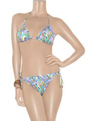 Matthew Williamson | Blue Geometricprint Triangle Bikini | Lyst