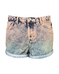 TOPSHOP - Blue Moto Dip Dye Mid Length Shorts - Lyst