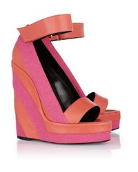 Pierre Hardy | Pink Canvas and Leather Platform Wedge Sandals | Lyst