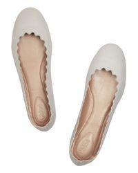 Chloé   Beige Lauren Leather Ballet Flats   Lyst