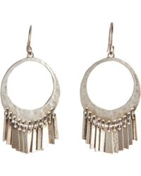 Me&Ro - Metallic Silver Open Circle with Tibetan Flags Earrings - Lyst