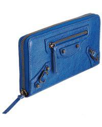 Balenciaga - Blue Arena Classic Continental Wallet - Lyst