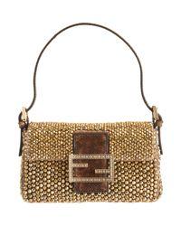 Fendi | Metallic Mini Beaded Baguette Bag | Lyst