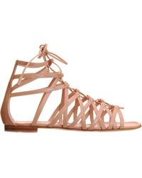 Gianvito Rossi - Natural Laceup Gladiator Sandal - Lyst
