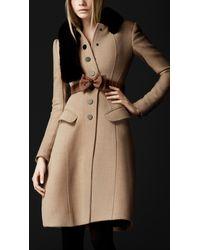 Burberry Prorsum | Natural Crêpe Wool Tailored Coat | Lyst