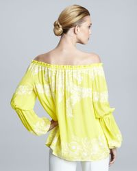 Naeem Khan - Yellow Off-the-shoulder Peasant Blouse - Lyst