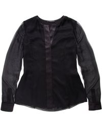 Narciso Rodriguez - Black Sheer Sleeve Blouse - Lyst