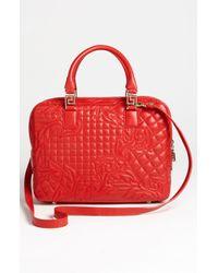 Versace   Red Versace Linea Leather Satchel   Lyst