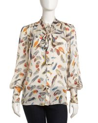 Rachel Roy | Multicolor Printed Tie-neck Blouse | Lyst