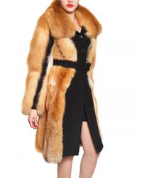 Viktor & Rolf | Black Wool Cloth Red Fox Fur Coat | Lyst