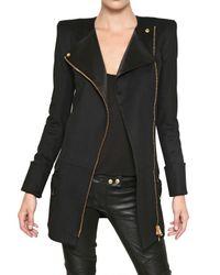 Balmain - Black Silk Satin Trim Wool Cloth Coat - Lyst