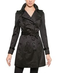 Burberry Prorsum | Black Cotton Satin Trench Coat | Lyst